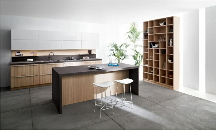 étagère en cubes, sol anthracite, bar de cuisine et plan de travail, équipement minimaliste