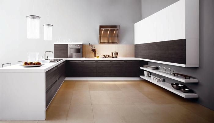 cuisine en blanc et bois wengé, plafonniers suspendus, cuisine en L auw lignes droites