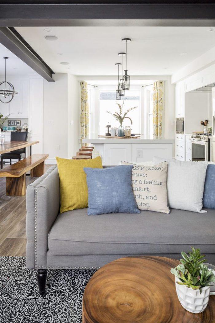Déco salon cocooning amenagement salon lux intérieur chic couleur gris bleu et jaune idee deco salle a manger sejour cuisine