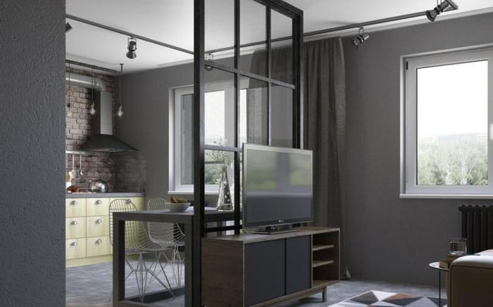 cuisine ouverte, petite et grise, table à manger grise, verrière cuisine du plafond au sol, separation cuisine salon