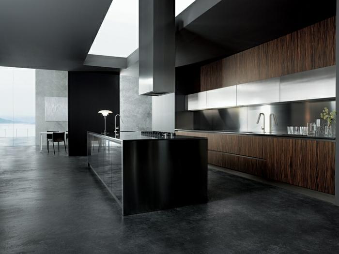cuisine style contemporain, déco bois wengé, ambiance bois et gris anthracite, îlot central