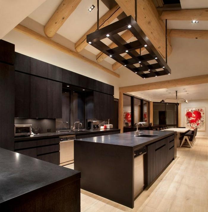 comment décorer la cuisine wengé, suspension bois wengé, ilot de cuisine et cabinets wengé couleur