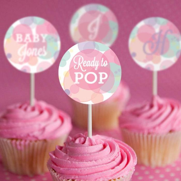 Baby shower gateau cupcake rose pour une fille bebe idée gateau femme enceinte deco gateau originale pretr pour le bebe