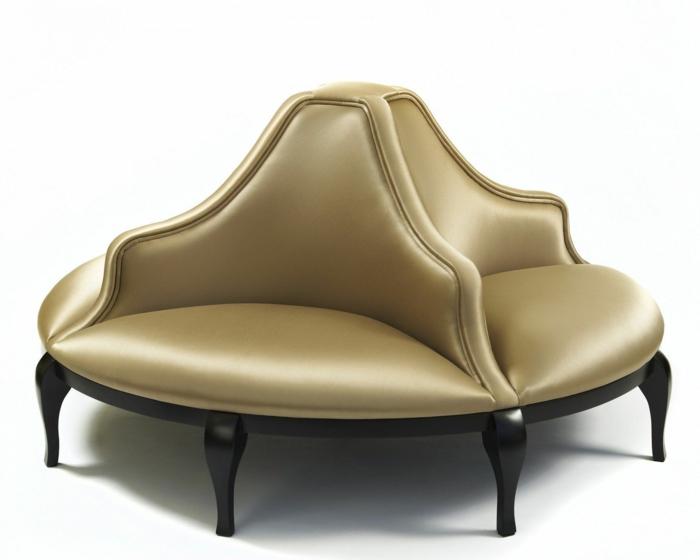 relooking meuble avant après, canapé rond quatre places en couleur olive, meuble en style Renaissance et château de Versailles, customiser un meuble aux pieds en bois noir