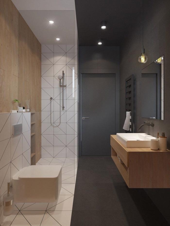 idée meuble petite salle de bain à design moderne avec mur en gris anthracite et pan de mur en carrelage blanc