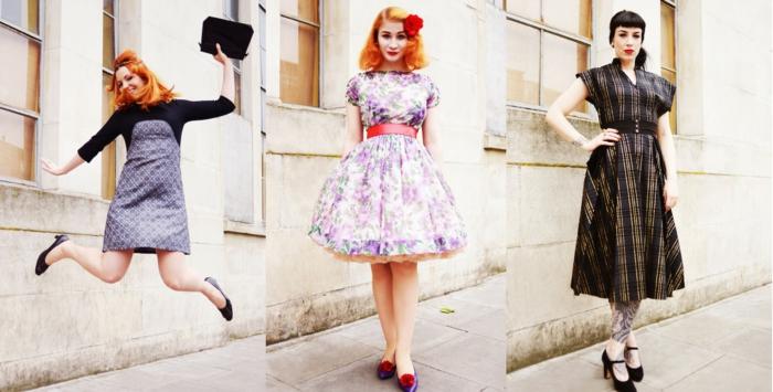 style vestimentaire rétro, vetement retro femme, robe année 60, coiffures vintage