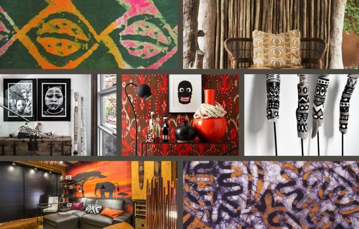 exemple comment aménager un salon en style africain, déco de pièce blanche avec meubles en bois bruts et objets de bois design tribal