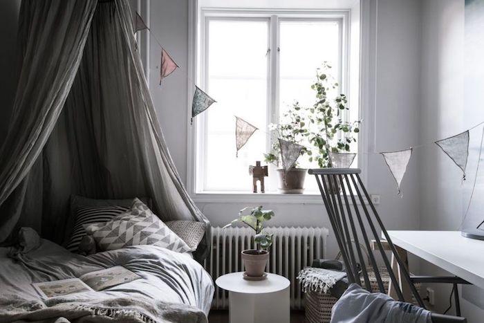Chambre 10m2, aménager une chambre de 10m2, féminine chambre claire, tipi pour lit, bureau, chambre grise avec détails roses