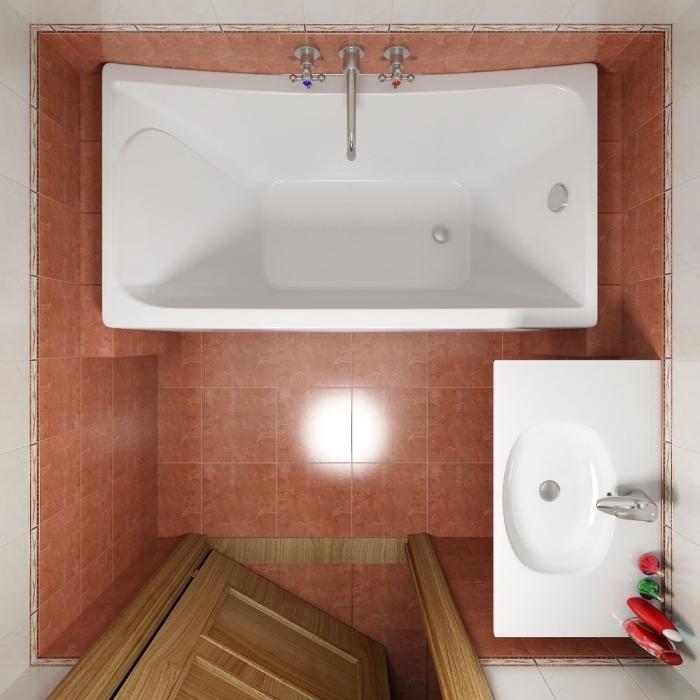 idée couleur salle de bain petit espace avec murs au carrelage blanc et carrelage marron au sol avec baignoire blanche