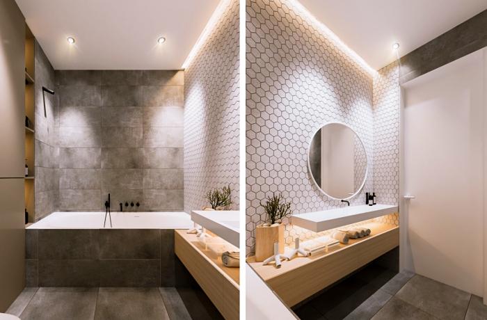 exemple comment aménager une petite salle de bain au plafond blanc avec carrelage en gris et meuble sous vasque en bois clair