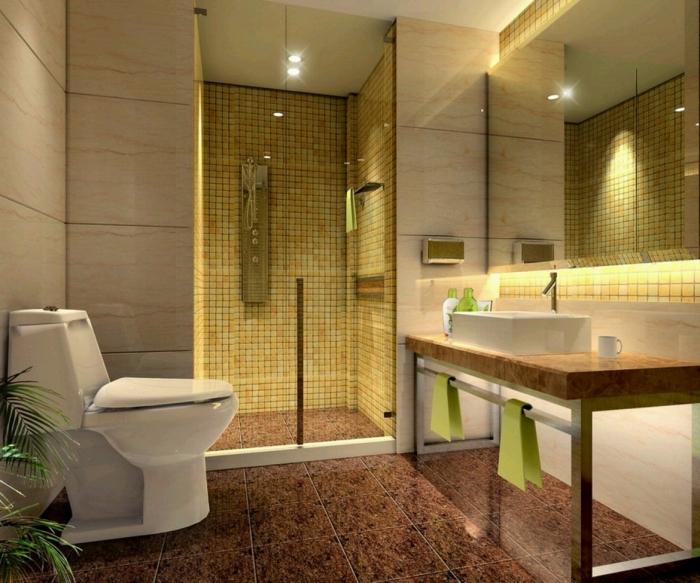 exemple comment aménager une salle de bain en couleurs neutres avec carrelage de sol marron et cabine de douche à mosaique