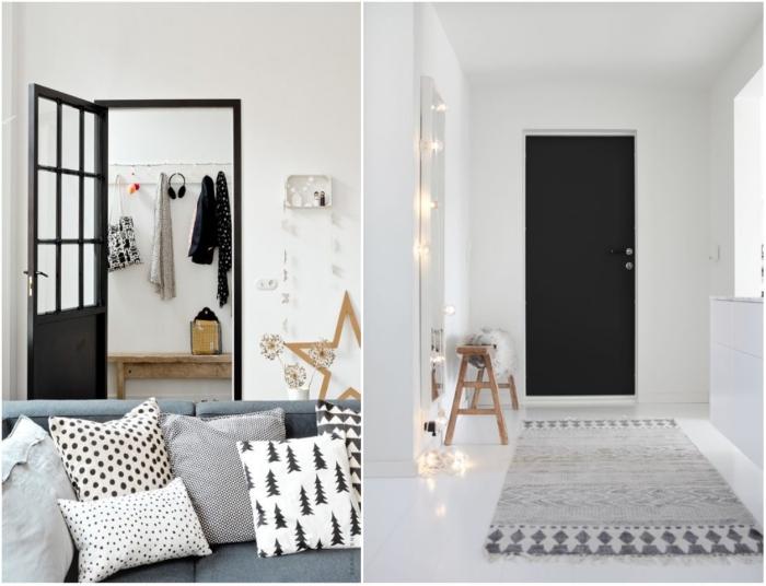 intérieur nordique en blanc et gris où la porte noire se fait déco, peinture porte noire pour un effet de profondeur