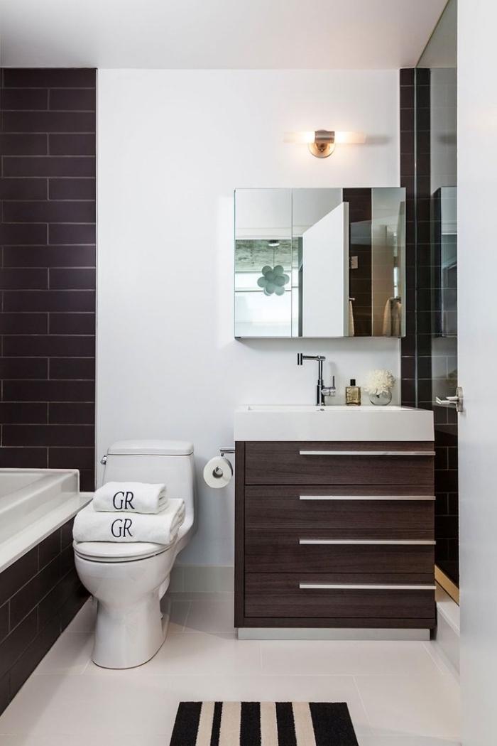 idée agencement salle de bain aux murs et plafond blancs avec pan de mur en carrelage briques marron et meuble sous lavabo