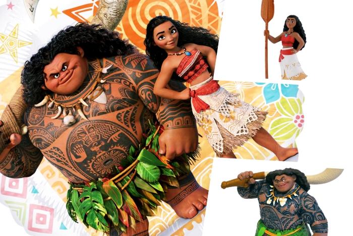 figurines des personnages Maui et Vaiana à utiliser pour la décoration d'un gâteau Disney fait maison, quels produits pour une déco gâteau facile