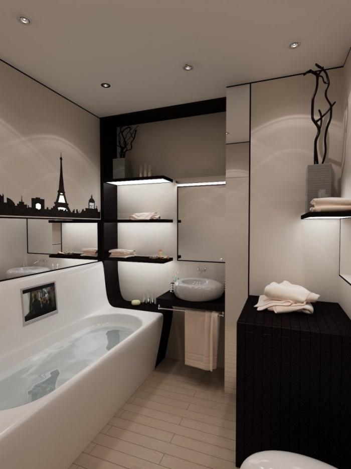 amenagement salle de bain petit espace avec rangement mural à design étagères d'angle noires avec éclairage