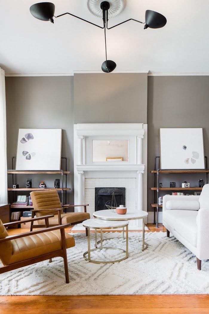 Decoration salon contemporain deco cocooning séjour fonctionnel et cosy en blanc taupe et bois décoration scandinave pour le salon moderne