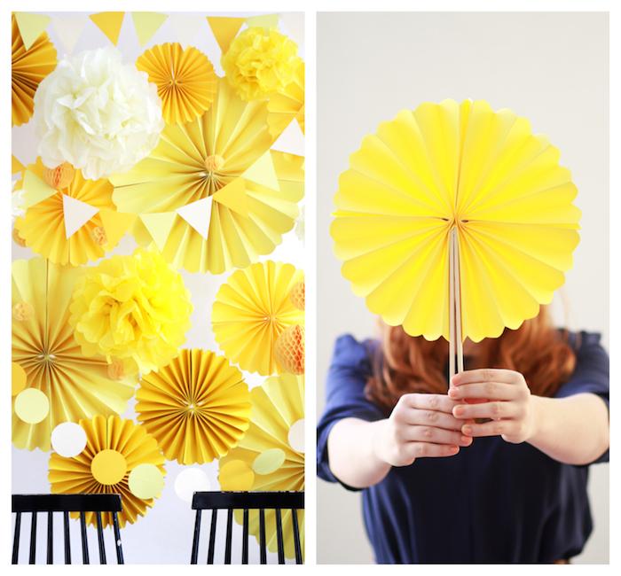decoration anniversaire a faire soi meme, fleurs en papier de soie et eventail chinois en papier jaune facile a faire