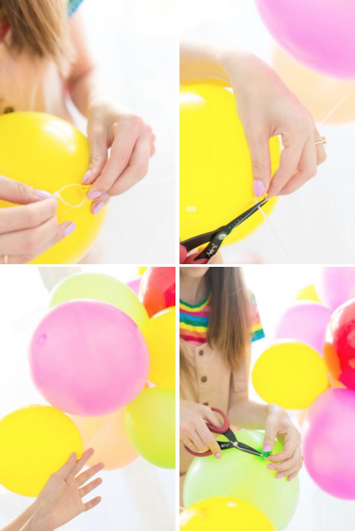 Tutoriel pas à pas comment faire soi meme une guirlande de ballons anniversaire thématique fruits et couleurs