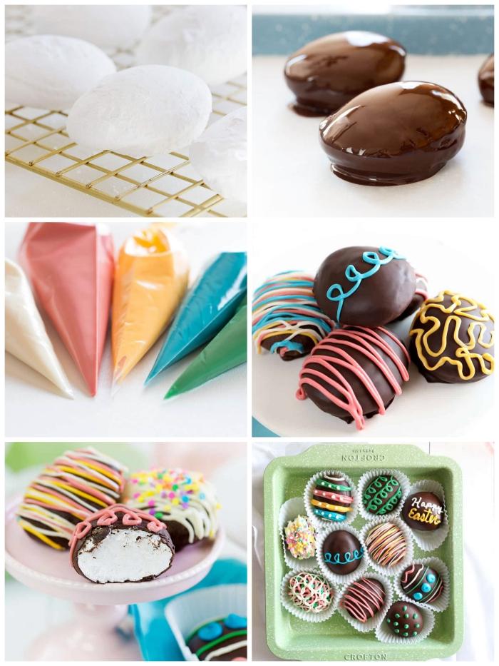 idée de dessert de pâques original en forme des oeufs préparés avec de la guimauve recette maison, enrobés de chocolat