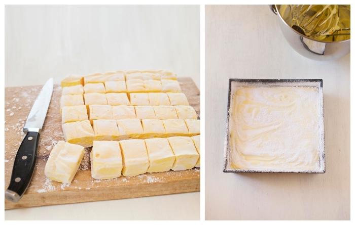 recette guimauve moelleuse et parfumée au citron et au romarin, dessert original à la guimauve idéal après un repas en été
