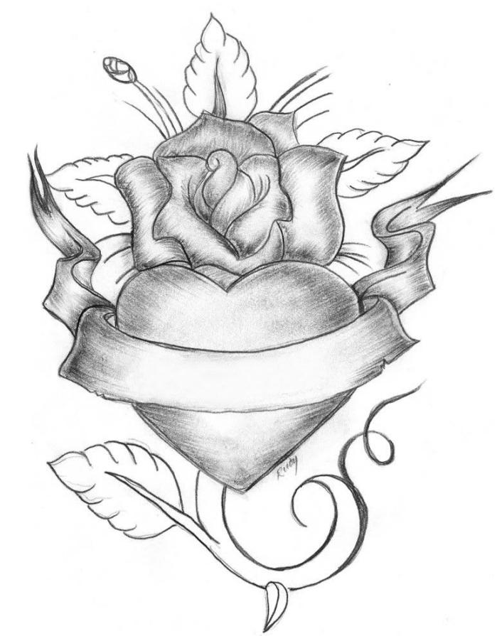 joli dessin de rose ouverte avec un coeur au centre, idée comment dessiner une rose en blanc et noir au crayon