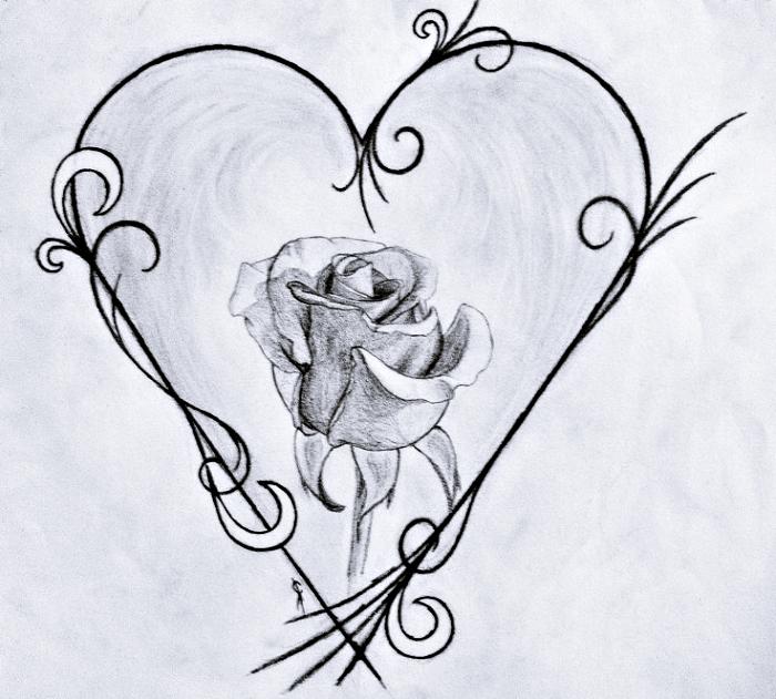 exemple de dessin fleur noir et blanc, idée comment faire un dessin original avec rose semi-ouverte au centre de coeur