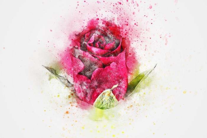 joli dessin de rose fermée de couleur rose fuchsia avec feuilles vertes, exemple comment dessiner une rose en couleurs