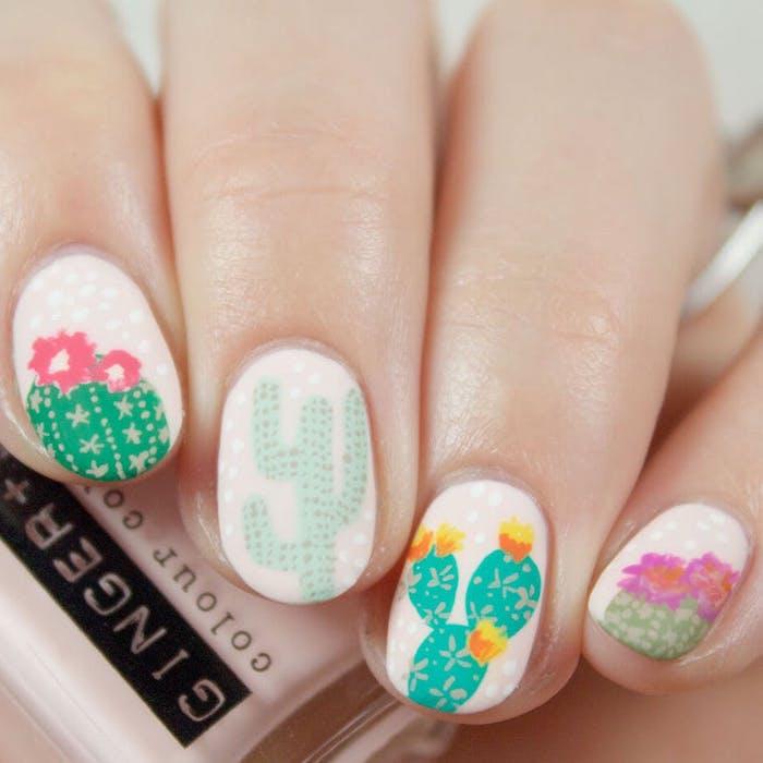 Cactus dessin tendance, originale manucure, ongle gel couleur, dessin ongle art, design nail art manucure, inspiration ongle dessin