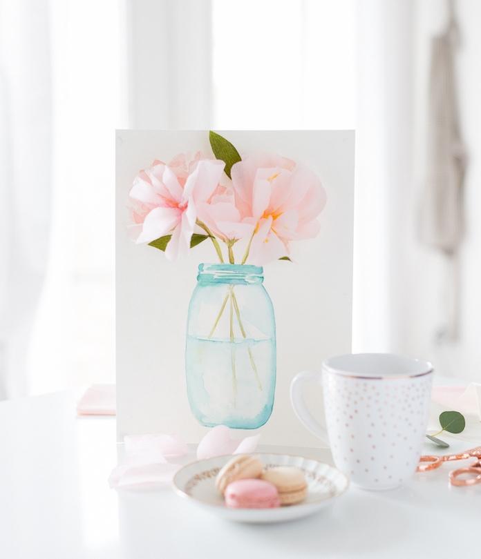 cadeau dessin 3d de vase de fleurs avec des pétales de fleurs en papier de soie rose, cadeau anniversaire femme diy