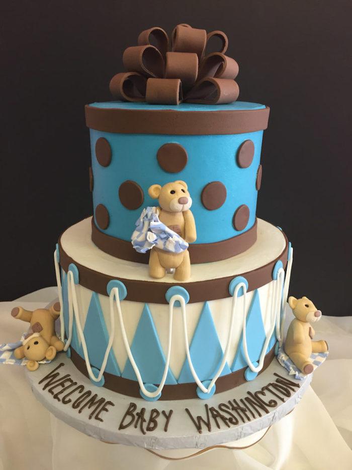Gateau baby shower garcon gateau femme enceinte photo inspiratrice oursons gateau deux etages bebe cadeau theme