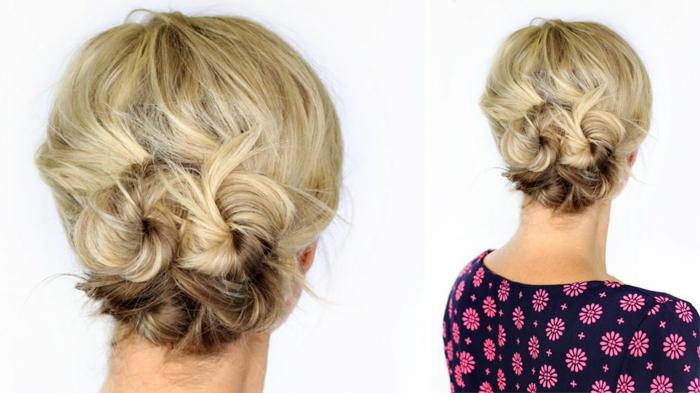 faire un chignon bohemen cheveux blonds, deux petits chignons bas