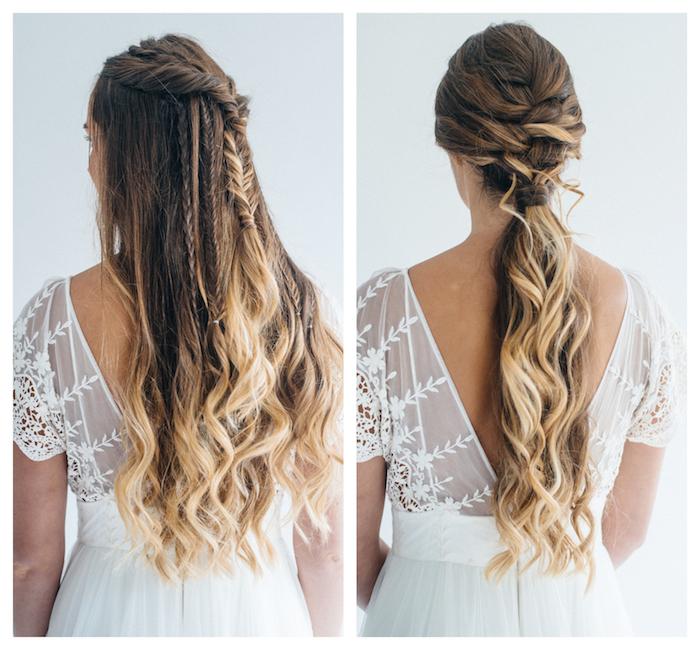 exemple de deux coiffures tresse mariage, demie queue de cheval et tresse en épi sur cheveux longs lachés