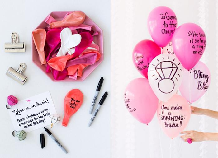 Activité enterrement de vie de jeune fille originale écrire des voeux et les mettre dans ballons que vous pouvez dessiner en top idée evjf fête amusement filles