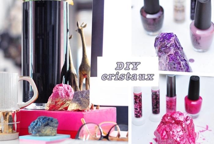 décoration de bureau chambre ado avec objets personnalisés DIY, modèle de faux cristaux colorés avec vernis à ongle