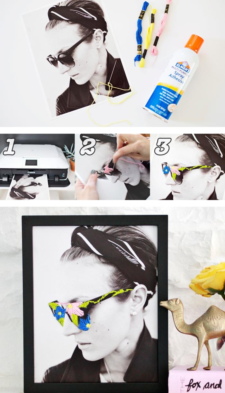 idées loisirs créatifs adultes ou ado, projet DIY avec photo imprimée en blanc et noir décorée avec fils colorés