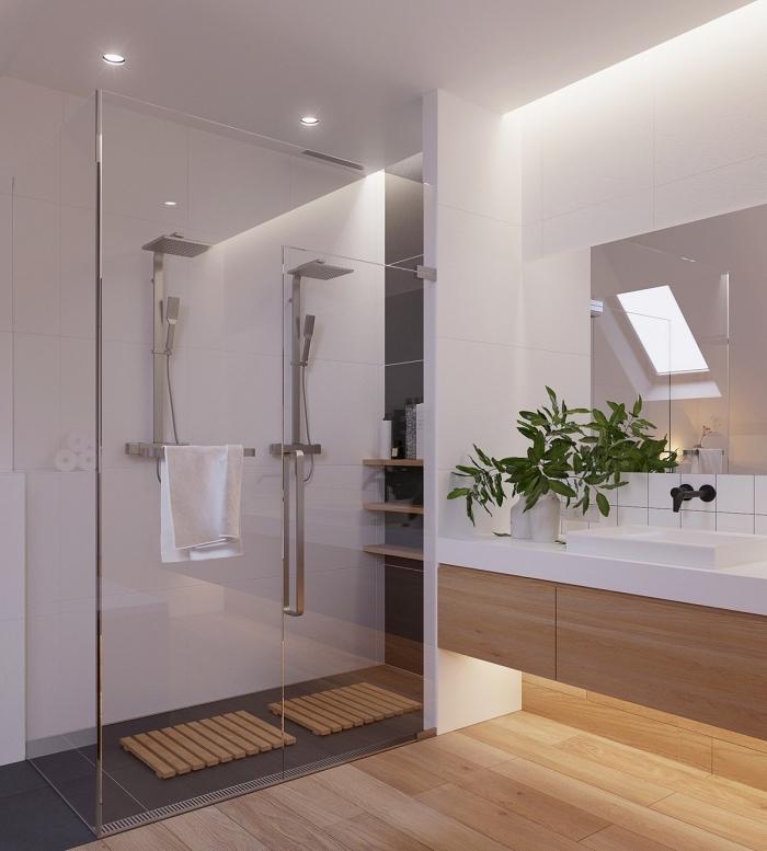 idée couleur salle de bain moderne aux murs et plafond blanc avec revêtement de plancher imitation bois et cabine de douche