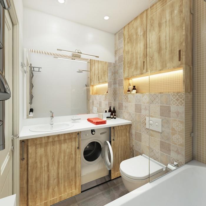 amenagement salle de bain petit espace au plafond et comptoir blancs avec carrelage beige et meubles sous vasque design bois