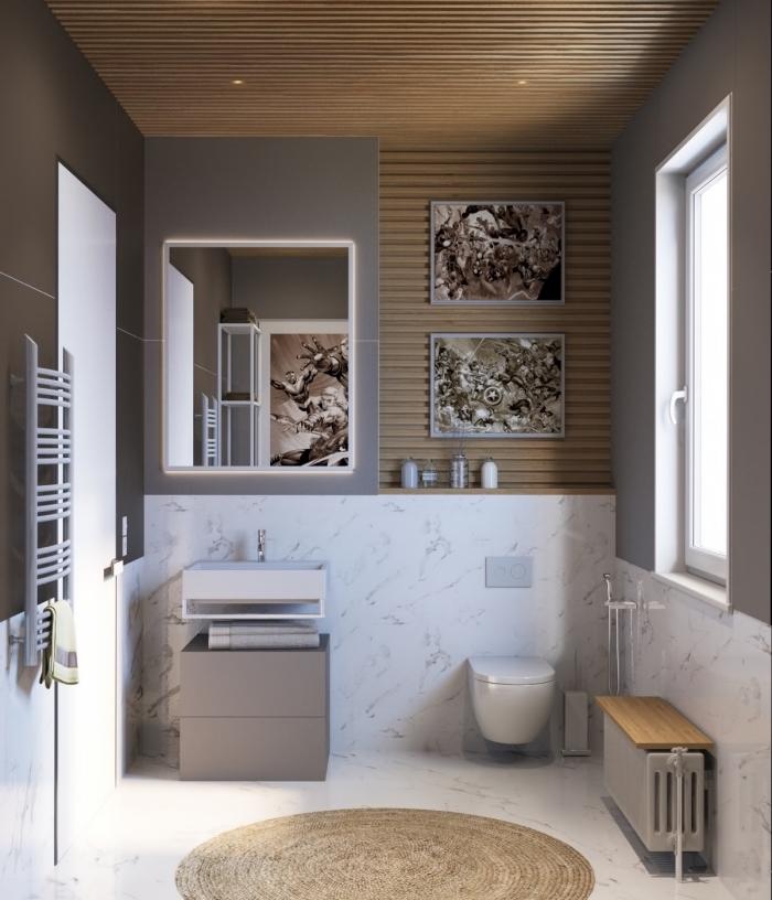 meuble petite salle de bain fonctionnel sans poignées sous vasque de couleur gris clair, modèle de tapis rond beige pour espace humide