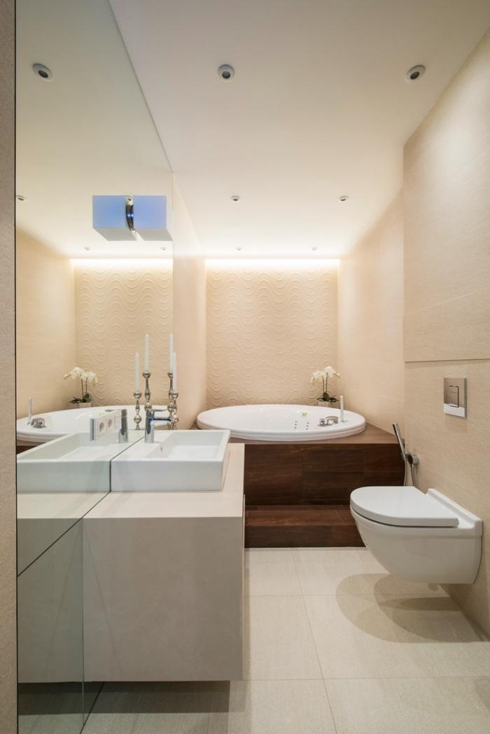 exemple meuble salle de bain en couleurs neutres avec baignoire et meuble sous vasques, modèle de cuvette suspendue wc
