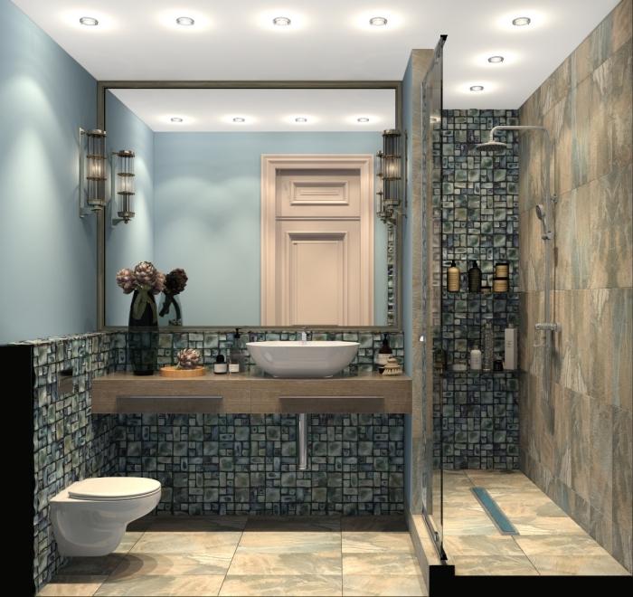 modele carrelage salle de bain en couleurs neutres à combiner avec une peinture murale en bleu pastel et plafond blanc