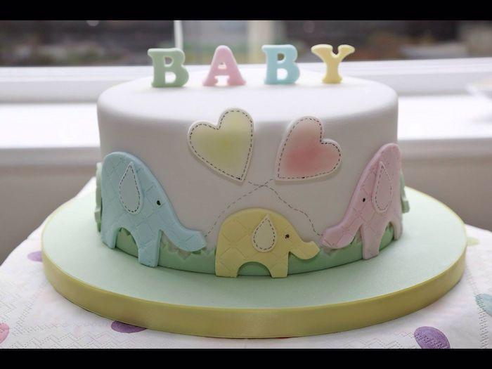 Gâteau surprise d'annonce de grossesse comment annoncer que c'est une fille éléphant thème maman papa et bebe éléphant