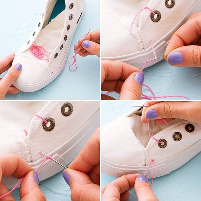 tutoriel pour décorer facilement ses baskets blancs en fil coloré, idée d activité manuelle pour ado, paire de baskets personnalisés
