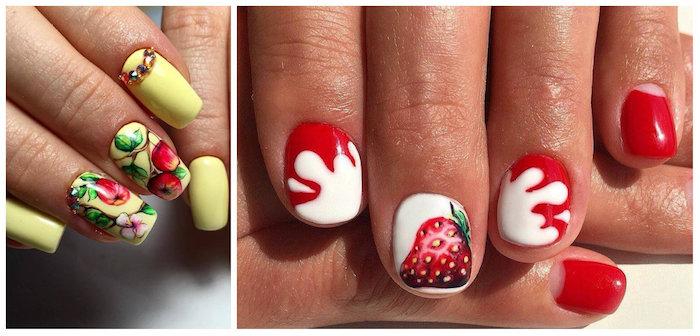 Motif ongle french, manucure couleur, modele ongle nail art, décoration pour gel ongle, jaune ongle gel avec dessin d'arbre de pomme et une image nail art rouge avec dessin de fraise