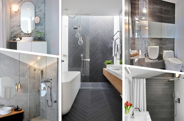 idée aménagement petite salle de bain en couleurs neutres avec carrelage à design marbre gris et blanc et objets à finition métal