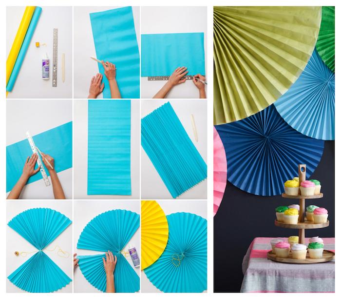 idee comment fabriquer éventail géant en papier pour décorer un mur derrière candy bar anniversaire