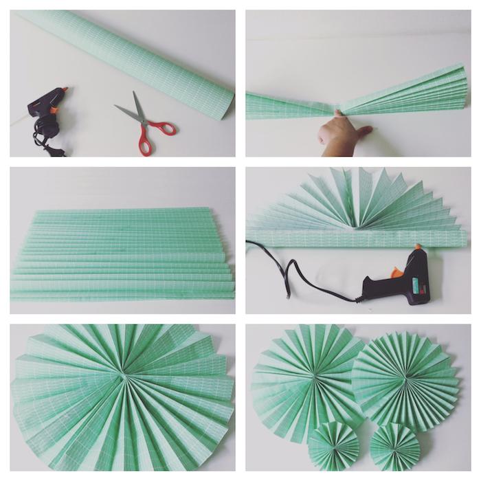 bricolage comment faire un éventail en papier soi meme, papier vert pastel plié en accordeon, rosaces pour decoration murale