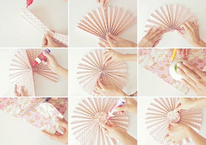 une deco murale ou anniversaire en éventail de papier à motifs fleuris, decoration a faire soi meme
