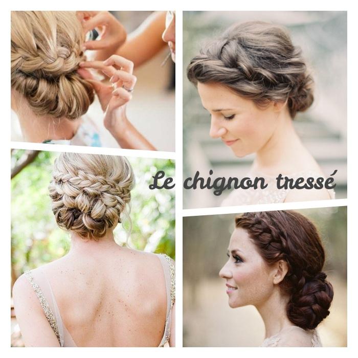 réaliser une coiffure chignon tresse sur cheveux longs, idées de chignons variées à partir d une ou plusieurs tresses
