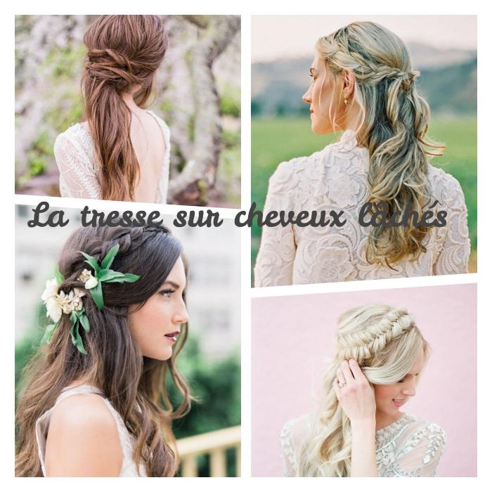 modèle de coiffure mariage tresse, simples petites tresse sur cheveux lachés, tresses de coté