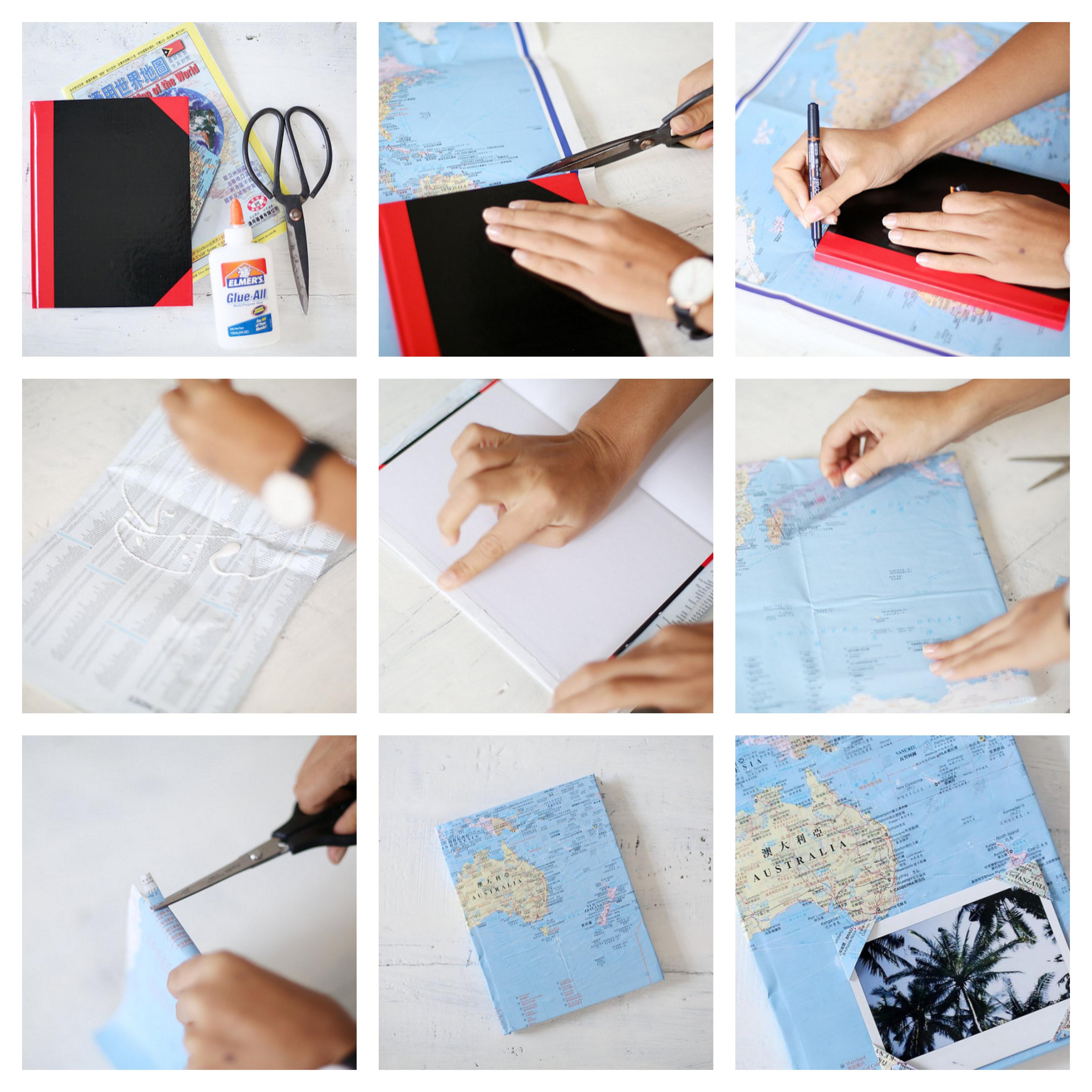 idée comment faire un carnet de voyage, cadeau a fabriquer pour sa meilleure amie tuto, carnet à couverture décorée de carte du monde et photo paysage exotique